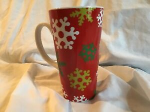 Large-Snowflakes-w-Red-Background-16-oz-Tall-Coffee-Cocoa-Drink-Mug-BRAND-NEW