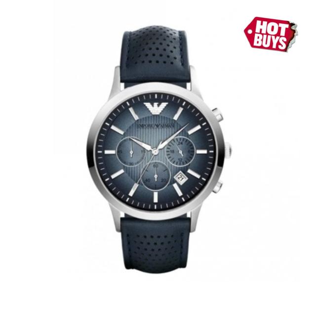 1cb231b84cc New Emporio Armani AR2473 Classic Chrono Blue Dial Leather Strap Men s Watch  UK