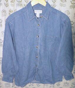 LANDS' END Women's Small 6-8 Blue 100% Cotton Denim LS Button Down Shirt EUC USA