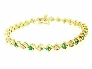 14k-Yellow-Gold-1-87ctw-Round-Brilliant-Diamond-amp-Emerald-Line-Tennis-Bracelet