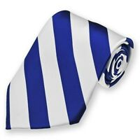 Royal Blue And White Woven Diagonally Striped Tie, College, Team Or School