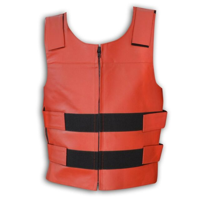 Men's Red Bullet Proof Style Zipper Leather Motorcycle Vest S To 6XL