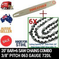 20 Bar+6 Chain 3/8 72dl .063 Combo For Stihl Chainsaw Chain Saw