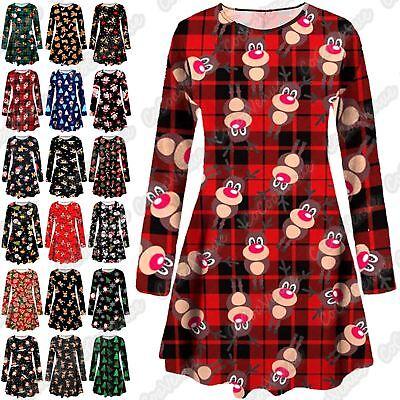New Girls Womens Christmas Reindeer Santa Tartan Check Candy Xmas Swing Dress