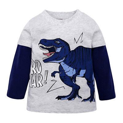 Toddler Baby Boys Cartoon Dinosaur Cotton T-shirt Infant Long Sleeve Tops 2-10Y