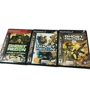 Ghost-Recon-2-Jungle-Storm-Advanced-Warfighter-PS2-Game-Bundle-LOT-of-3