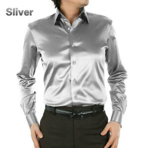 mens satin silk dress shirt long sleeve slim business