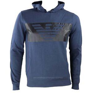 Emporio-Armani-EA7-Felpa-uomo-con-cappuccio-blu-mod-6gpm56