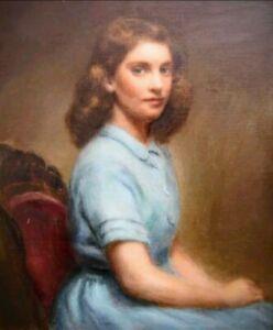 """Portrait - Girl In Blue"" 1943; OIL ON CANVAS artist ""Douglas Parshall"""