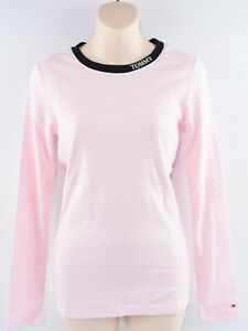 TOMMY-HILFIGER-Women-039-s-Stretch-Cotton-Long-Sleeve-Top-Light-Pink-size-M