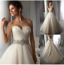 New Sweetheart White/Ivory Wedding Dress Bridal Gown Size 6-18 Uk
