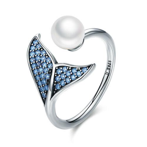 Ocean Cola De Sirena 925 Plata esterlina CZ Anillo Abierto con Perlas Ajustable Azul