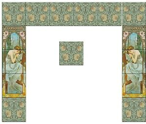 Fireplace Full Set Tile Ceramic Alphonse Mucha Art Nouveau Reproduction 5 Ebay