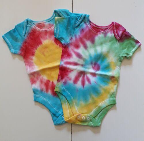 New Festival Tie Dye Baby Bodysuit Unique Gift - Handmade 6-9 Months