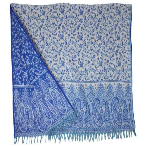 SHAWL PASHMINA WRAP SCARF FLEECE INDIAN BLANKET HIPPIE FESTIVAL Royal Blue White