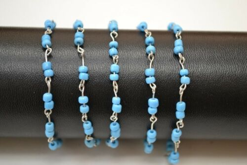 1 METER GLASS BEADS BEADED SILVER PLATED CHAIN 4MM #T-1265