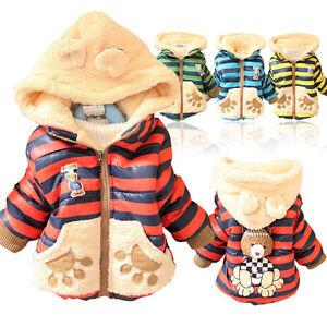 Kinder-Baby-Mantel-Teddy-Babyjacke-Bear-Winter-Schneeanzug-Kapuze-Gr-80-86-92-98