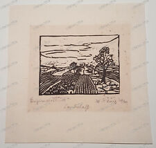 Waldemar-Flaig-Villingen-Original-Holzschnitt-Landschaft-1920-Meersburg-Bodensee