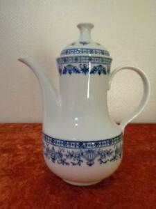 DDR-Kahla-Porzellan-Kaffeekanne-Kaffee-Kanne-um-1970-Kobaltunterglasur