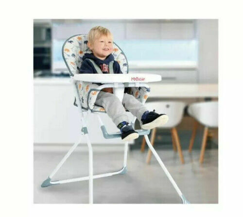 Child Food Feeding Dinner Highchair My Babiie Compact Baby Dinosaur Blue