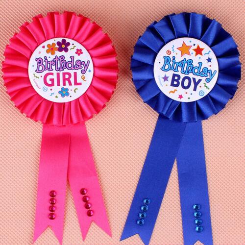 Unqiue Birthday Girl Boy Award Ribbon Rosette Badge Pin Children/'s Party Top JJU