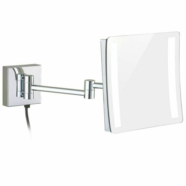 Gurun 3x Magnifying Makeup Mirrors Led Lighted Square Chrome Mirror Wall Mounted