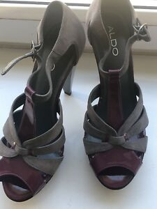 27b478aec99 Image is loading Womens-Aldo-Heels-grey-Suede-purple-Patent-Size-