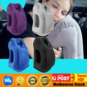 New-Inflatable-Air-Travel-Pillow-Cushion-Neck-flight-Comfortable-Support-Nap-AU