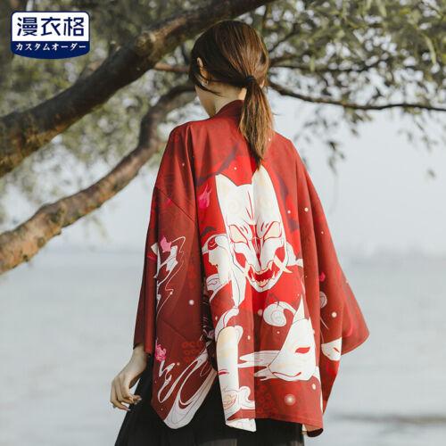 Harajuku Unisex Fox Mask Japanese Kimono Haori Yukata Summer Coat Jacket Jd/_uk