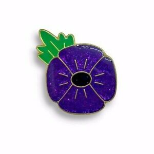 100-UK-Stock-Glitter-Purple-poppy-Ribbon-Poppy-Enamel-Pin-Badge-Brooch