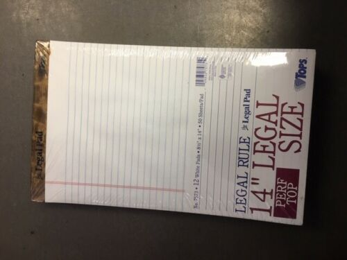 12-Pk Legal Ruled TOPS Perforated Writing Pad Letter 8.5 x 14 50-Sheet