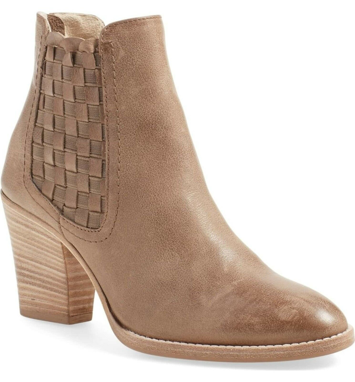 Womens Aquatalia Boots Frannie Weatherproof Taupe Woven Zip Ankle Booties 9.5 M