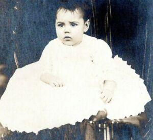 1910 Pretty Dark Haired Baby Girl RPPC Real Photo Postcard JN