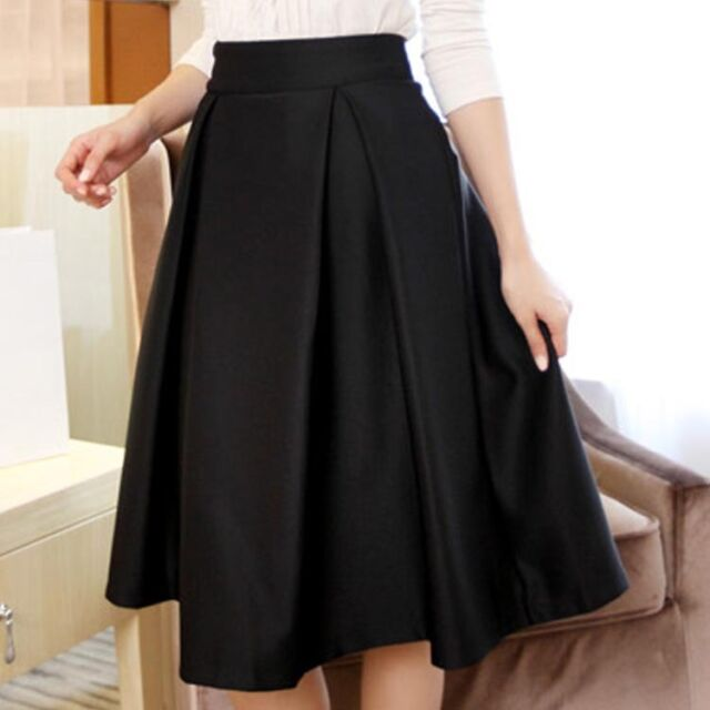Hepburn Women High Waist Pleated Stretch Solid Flared Skater A Line Midi Skirt