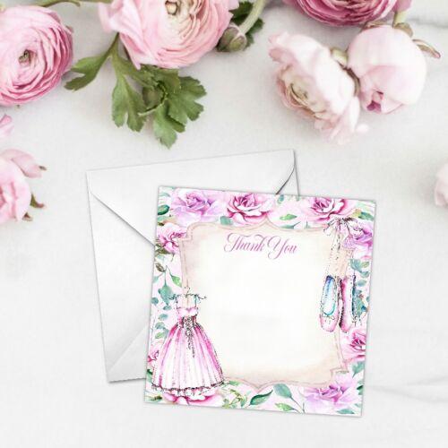 Ballet Party Cards Ballerina Mini Thank You Cards Birthday Notecards