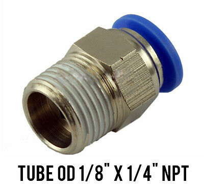 "1 Lot of 10 Male Straight Connector Push In Fitting Tube OD 1/8"" x 1/4"" NPT"