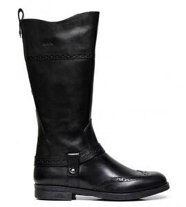 Dettagli su GEOX AGATA J6449B NERO scarpe bambina stivali stivaletti polacchine tacco pelle