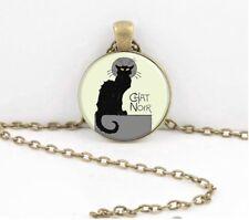Gato Negro Cabochon Colgante Collar Gato Noir