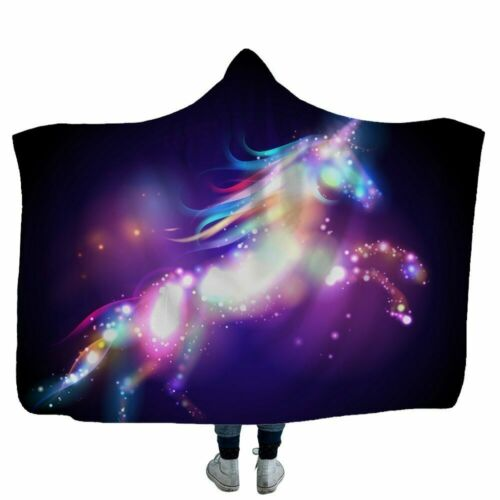 Hoodie Unicorn Plush Hooded Blanket For Adults Kids Watching TV Reading