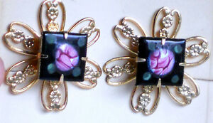 #1242 Vintage Earrings Guilloche Enamel Floral Filigree Cloisonne Screw Back NOS