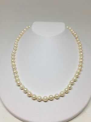 Akoya Pearl Necklace White Gold 10k Vintage 17in 5.5-6mm Estate Strand W7