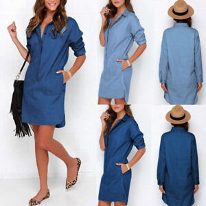 Womens-Casual-Lapel-Blouse-Ladies-Long-Sleeve-Denim-Jeans-T-Shirt-Dress-Tops-New