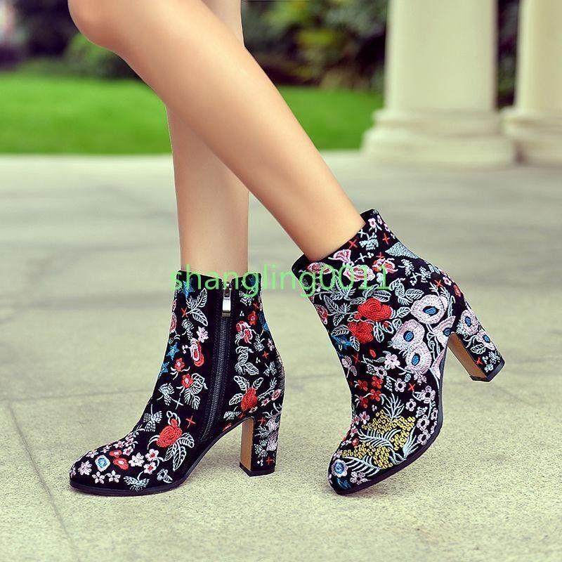 Para mujer en punta Boho Étnico Bordado Talón Floral Bloque Talón Bordado Tobillo Botas Zapatos 1bf363