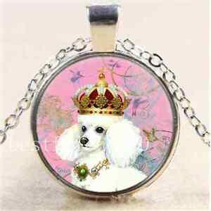 White-Poodle-Princess-Cabochon-Glass-Tibet-Silver-Chain-Pendant-Necklace-6044