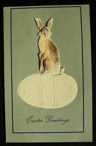 Cute-Fabric-Rabbit-Bunny-Sitting-on-Decorated-Egg-Novelty-Easter-Postcard-k674