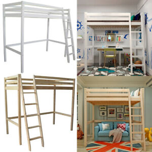 Details About Solid Wood Kids Safety Single High Sleeper Loft Cabin Bed Desk With Stairs Bunk