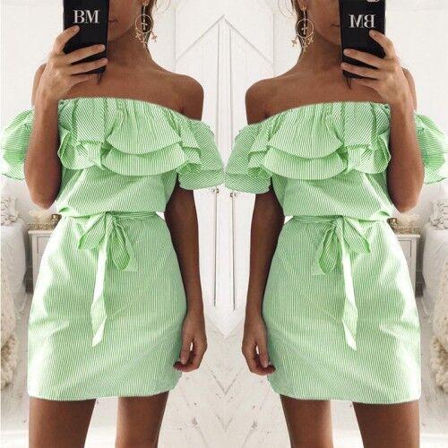 Womens Ladies Boho Strapless Mini Summer Dress Ruffle Bardot Cocktail Party UK