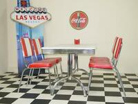 American 50s Diner Furniture Retro Booth Table With 4 Red Chairs