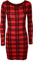 New Womens Tartan Checked Print Ladies Long Sleeve Bodycon Mini Dress Top 8 - 14