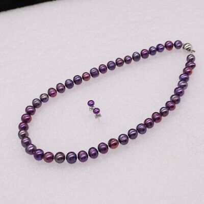 JYX Pearl Multi Strand Necklace 5-6mm Magenta Round Freshwater Cultured Pearl Necklace